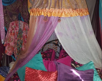 Bohemian Bed/Chair Canopy - Meditation Tent - Bohemian Tent - Silent Retreat - Festival - Garden - Glamping - Dorm - Study Nook