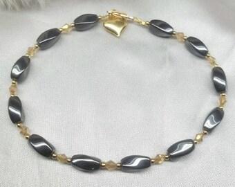 14k Gold Anklet Hematite Anklet Gold Crystal Anklet Ankle Bracelet Gold Heart Anklet Solid 14k Gold or 14k Gold Filled BuyAny3+Get1 Free