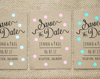 Pastel Polka Dot Kraft Save The Date Card