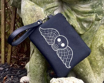 MADE TO ORDER, Deaths Head, Winged Deaths Head, Taphophile, Deaths Head Wristlet, Cemetery Wristlet