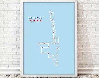 Chicago Marathon Map Art - Chicago Flag Edition
