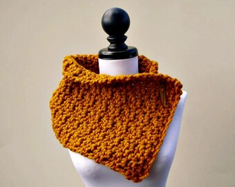 Chimenea de ganchillo bufanda - Lucienne chimenea en amarillo mostaza - capucha amarillo mostaza capucha bufanda amarilla bufanda mostaza para mujer accesorios