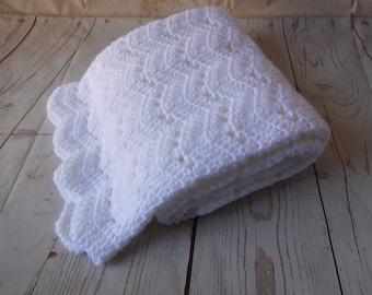 White Baby crochet blanket - white baby blanket - white baby afghan - gender neutral baby shower gift - baby boy or baby girl nursery - baby