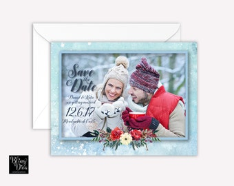 Snow Winter Save the Date Custom Print
