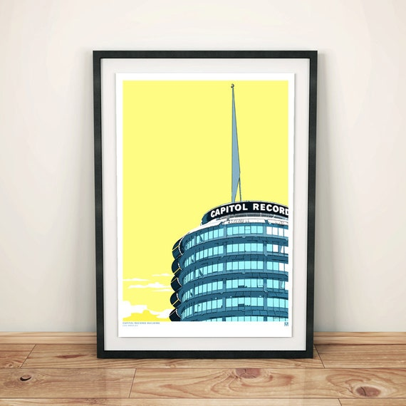 Los Angeles Capitol Records Building Architectural Print