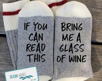 SUPER SOFT Novelty Word Socks, WINE, Bring me a glass of wine, Funny Socks, Word socks, novelty socks, personalized socks 2