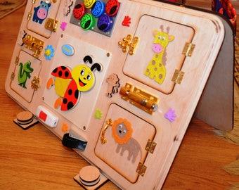 Éveil Conseil activité sensorielle planche Montessori jouets verrou planche bambin jouets Eco friendly Noël Jouets bébé cadeaux boîte occupé occupé cube