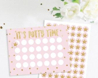 Potty Chart With Matching Stickers, Potty Training Chart, Cute Potty Training Chart, Pink and Gold Glitter, Potty Train
