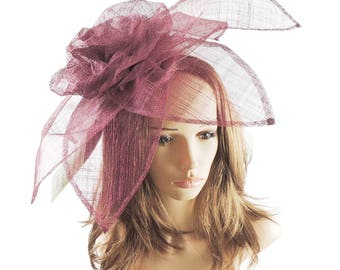 Carnation Burgundy WIne Fascinator Hat for Melbourne Cup, Kentucky Derby & Ascot