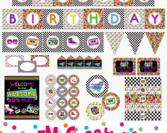 80s Birthday Party Decor - Ladies Night Party Printables - Neon Eighties Party - Printable Party Cupcake Toppers Banner Instant Download