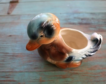 Baby Duck Pottery Planter, Succulent Planter, Vintage Planter, Green Decor, Indoor Garden, Duck Decor, Woodsy Decor