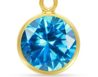 Bezel Drop Aqua Blue AAA CZ 14Kt Gold Filled 4mm- 1 Pc Wholesale Price (10560)/1