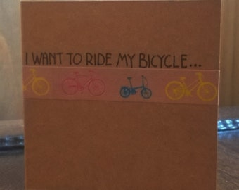 SALE: HALF PRICE Bicycle Handmade Card - blank card - I want to ride my bicycle - cycling card