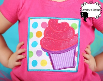 Cupcake -  Girls Birthday Applique Shirt & Matching XL Hair Bow Set with Puff