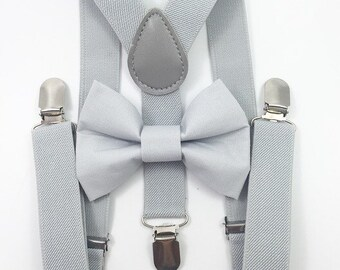FREE DOMESTIC SHIPPING! Light gray suspenders and gray bow tie set baby boys boy teens adult family photoshoot wedding formal ring bearer