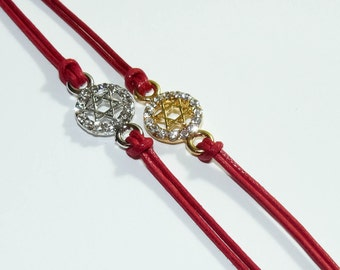 """Lot of 2 - Jewish Kabbalah Red String Silver tone and Gold tone """"Magen David"""" (star of David) in circle cast and stones Bracelet"""