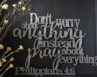 Philippians 4:6 Don't Worry Pray Metal Bible Sign Home Decor