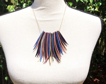 Upcycled Mulit-color Suede Fringe Rose Gold Necklace