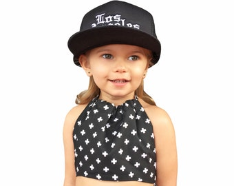 Baby halter top, Toddler halter top, Tank top, Black with White Plus Signs, Baby Summer Swim Top, One of a Kind, Fits 1-4 years old