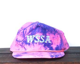 Trucker Hat Vintage Strapback Baseball Cap Crazy Pink Purple Acid Wash Tie Dye Windbreaker Fabric WSSA Zip Back