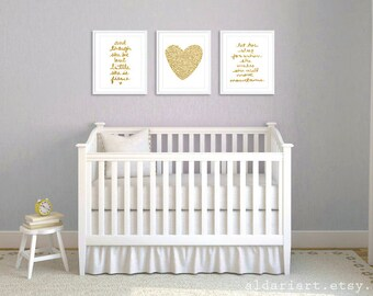 Girl Nursery Prints - Set of 3 prints - Faux Gold Prints - And Though She Be But Little She Is Fierce  - Let Her Sleep Print - Heart Print