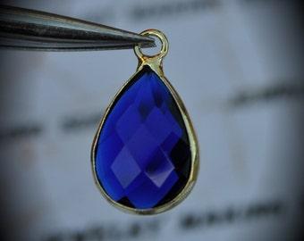 Gold Plated Bezel Brass Faceted Glass Tear Drop Pendant - Cobalt Blue