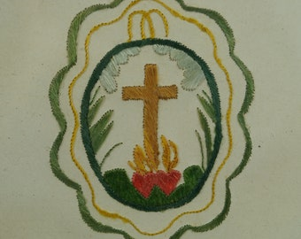 Antique French Religious Needlework On Paper Colifichet Sacred Heart Ex Voto Circa 1840
