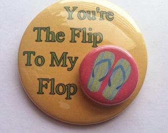 3 Flip Flop Buttons, Flip Flop Magnet, Flip Flop Gift, Flip Flop Party, Summer Gift, Summer Party Favor, Flip Flop Badge, Flip Flop Pin