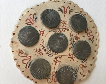Vintage Etched Silver Tone Buttons Antique Buttons Cardstock