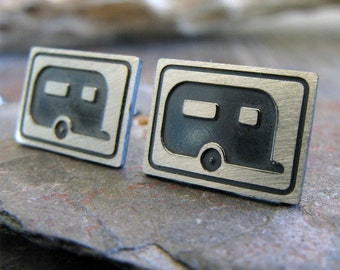 Camping sterling silver stud earrings. Camper trailer outdoor jewelry.  Campfire RV motorhome.  Travel handmade posts. Unique adventure gift