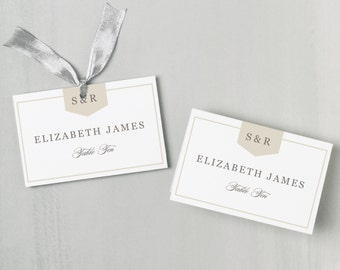 Printable Place Card Template INSTANT DOWNLOAD Calligraphy - Folded place cards template