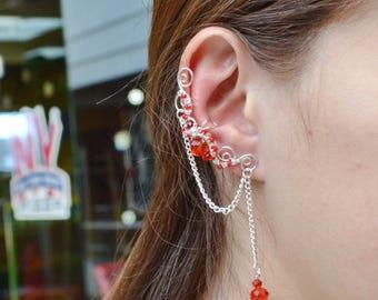 Cartilage Chain Earrings Ear Cuff No Piercing Cartilage Earring Ear cuff Earrings Dangle Earrings Red Earrings Ear Climber Earrings