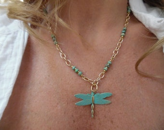 Goldtone Necklace with Dragonfly Pendant