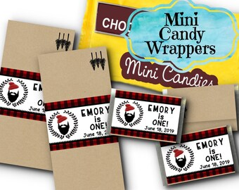 Set of 36 Mini Candy Wrappers, Birthday Party, Baby Shower, Lumberjack, Red & Black Plaid Flannel Check, Beard, Knit Cap