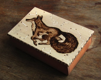 Woodburned box - FOX