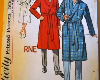 Vintage 1960's Sewing Pattern Simplicity 47397 Men's Robe Chest 38- 40 inches Complete