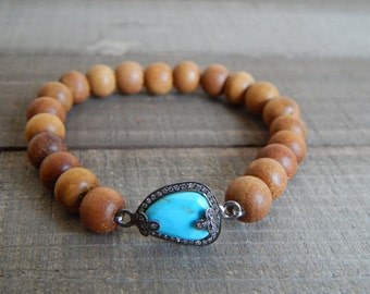 Sandalwood stretch bracelet with pave diamond and turquoise connector, neutral, stretch bracelet, beach chic, boho style, southwestern