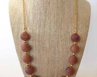 Dusty Pink Druzy and Gold Chunky Statement Necklace
