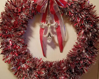 Red and Silver Tinsel Wreath