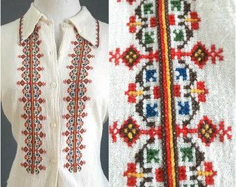 rare Iraqi embroidered blouse, rare 1960s Iraq-made blouse, Iraqi embroidery, vintage Iraq blouse, Iraq shirt, Iraq souvenir Iraqi handcraft