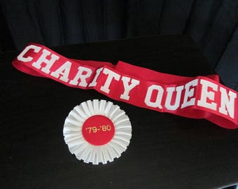 1979/1980 Charity Queen ribbon and sash vintage