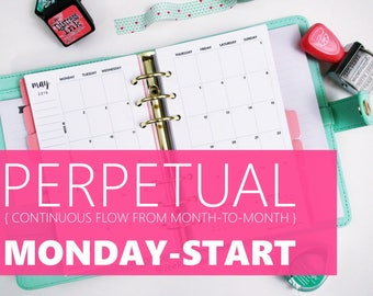 "Printed Monthly Insert: PERPETUAL MONDAY-START, 12-Months & 2 Annual, MO2P (3.7"" x 6.7"" Personal-Size or 4.25""x6.75"" Franklin Compact)"