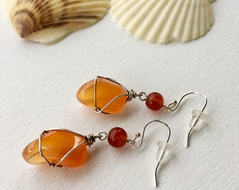 Red Agate and Carnelian Earrings