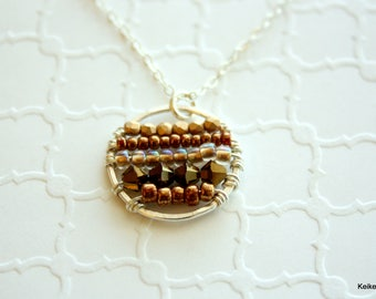 Circle Necklace , Beaded Pendant Necklace , Wire Wrapped , Unique Gift for Her