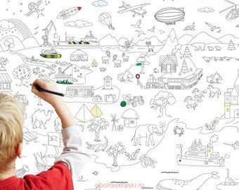 "Gigant poster coloring for children (for a boy) ""Big Adventure"" on wall"