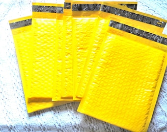 50 Pack 4x8 inch Wholesale Neon Yellow 4x8 Bubble Mailers, Fluorescent Yellow Padded envelopes, Mailing Shipping Envelopes