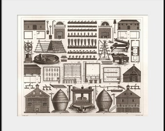 1850 Agricultural Tobacco Drying Farm Buildings Drawing; NEW Giclee Art Print Poster; Farming Sheds Barn Kilns Farmhouse Home Decor P132
