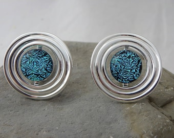 Blue/Green Dichroic Glass Clip On Earrings