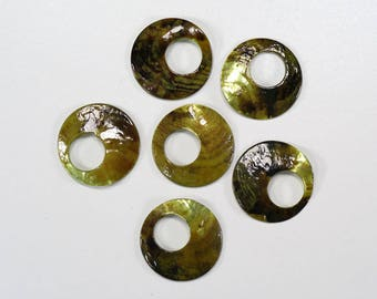 """Vintage Iridescent Green Abalone Shell Button Collection - Size 1.5"""" - Shell Buttons - Lot of 6 - Jewelry"""