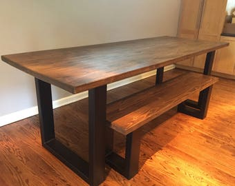 Steel Leg Rustic Farm Table